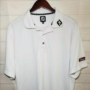 Footjoy FJ On Collar Titleist Polyester White Polo
